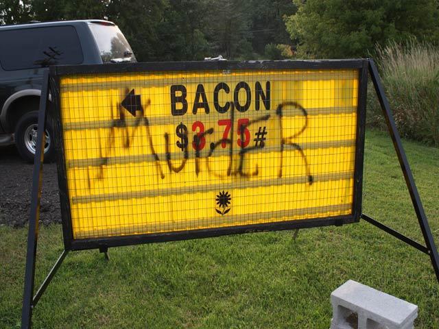 Vandalized sign