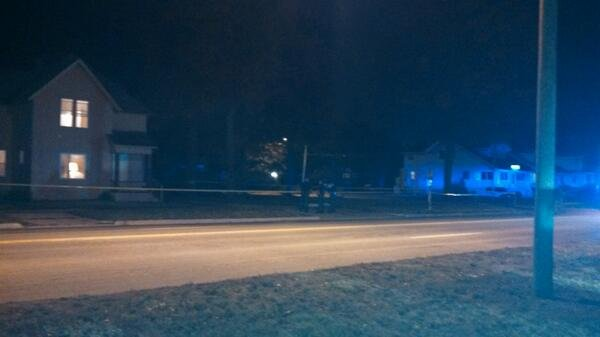 Police outside the location of the shooting early Wednesday morning.