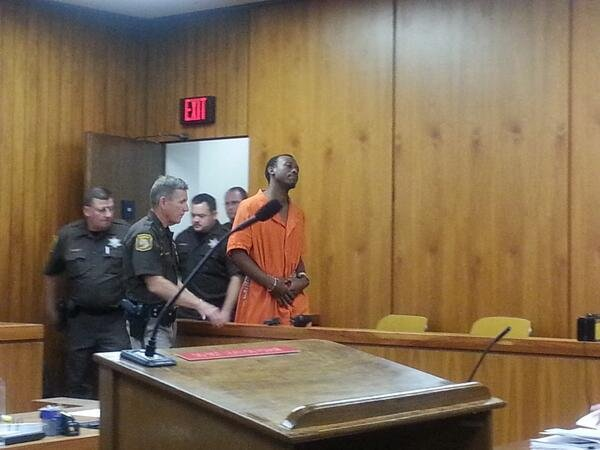 Michael Lawrence walks into the courtroom on Tuesday.