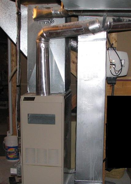 A traditional gas furnace.
