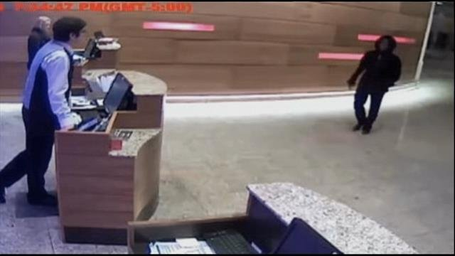 Video of the hotel lobby where Patrick was last seen.