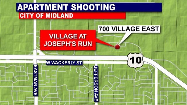 This map shows the location of the apartments in Midland.