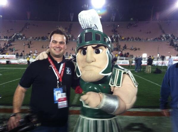 Keller with Sparty.