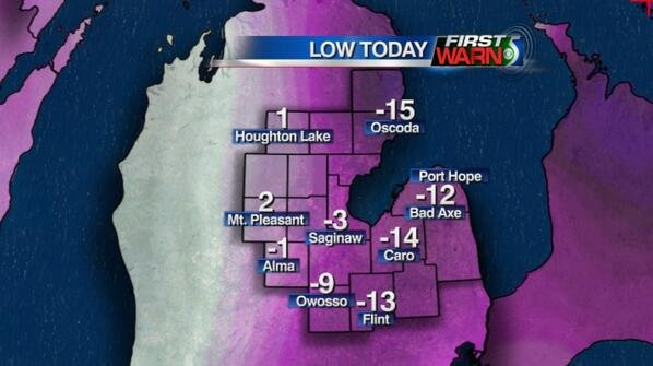 These are our unofficial morning lows. Flint did tie the record low this morning...the previous record was from 2000.