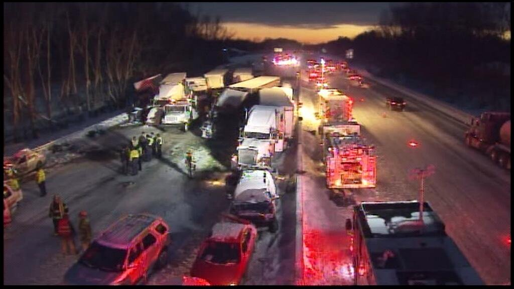 This photo shows the scene of the pile-up last night.