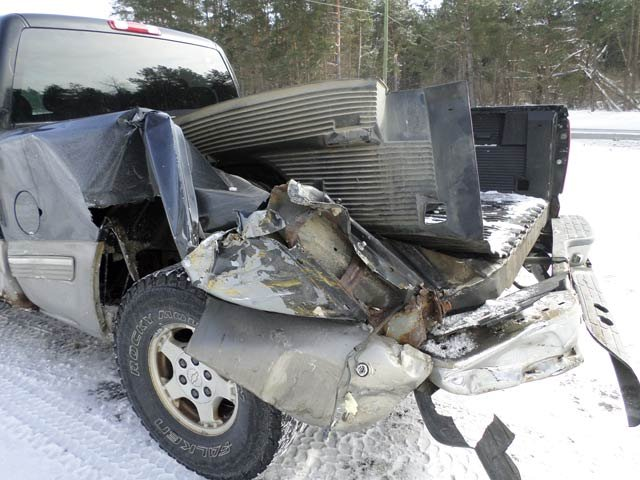 Damage done to the pick-up truck Thursday morning in Tuscola County.