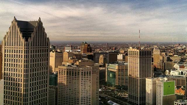 Aerial view of downtown Detroit.