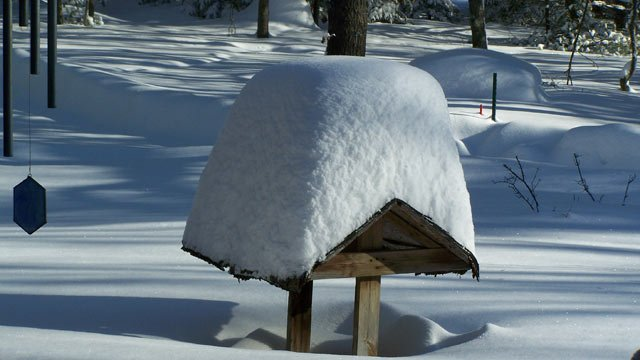 That's a lot of snow accumulated on top of a well.