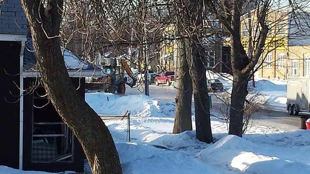 Photo of the water main break on Wheeler near Michigan Avenue