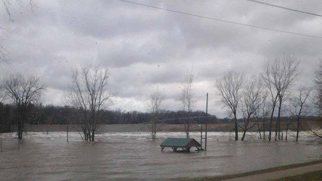 Flooding scene at Sanford Dam, photo courtesy of TV5 Facebook friend Mindy Ouillette