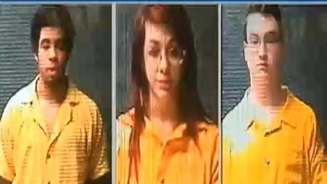 Suspects Tyrel Bredernitz, Samantha Grigg and Brandon Heim.