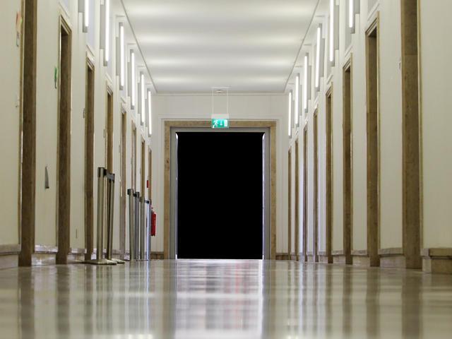 An empty school hallway.