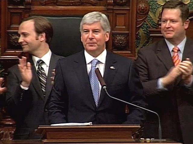 Gov. Snyder delivering the 2012 State of the State Address.