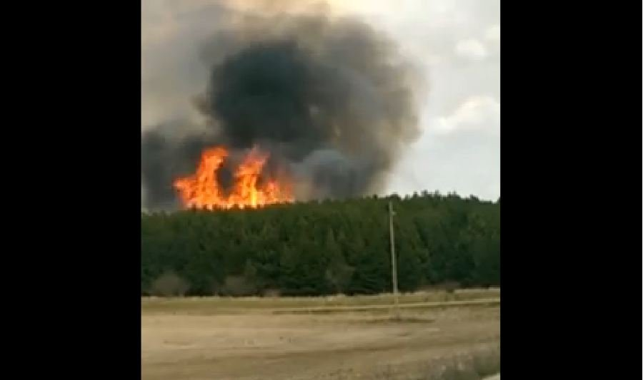 Viewer video submitted to TV5 shows massive flames. (Source: Brian Kihn)