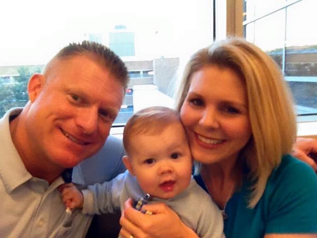 Carrie, Decker and husband Doug before surgery.