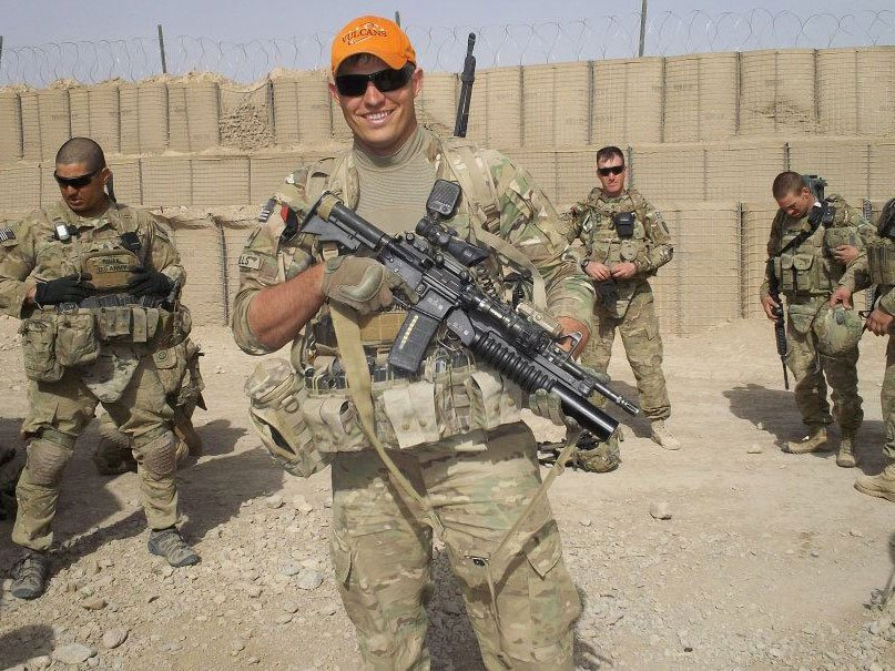 Travis Mills serving in Afghanistan.