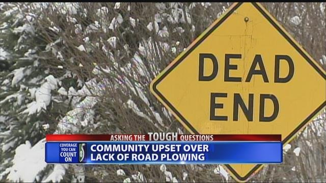 Community upset over lack of road plowing