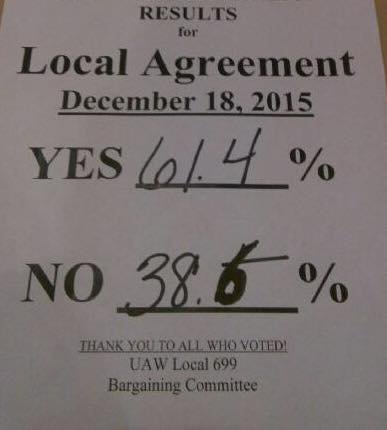 An agreement has been reached. (Source: UAW Local 699 Facebook page(
