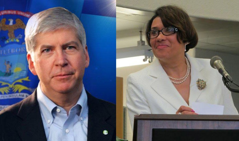 Gov. Rick Snyder and Mayor Karen Weaver