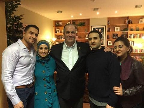 L-R: Dr. Ramy Kurdi, (Amir's brother-in-law), Sarah Hekmati (Amir's sister), Congressman Dan Kildee, Amir Hekmati, and Leila Hekmati (Amir's sister)