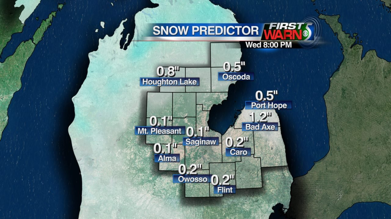 Projected Snowfall through 8:00 PM Wednesday, January 27