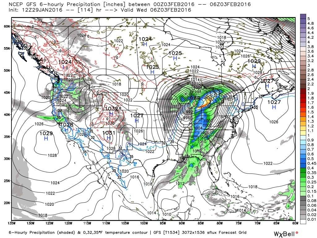 GFS model interpretation of 1 AM Wednesday (WxBell Analytics)