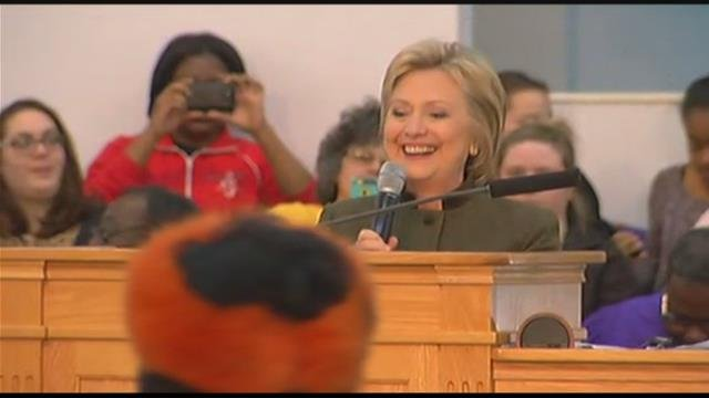 Hillary Clinton speaks in Flint. Source: WNEM