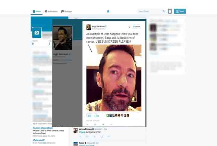Hugh Jackman Tweets about cancer. Source: Twitter