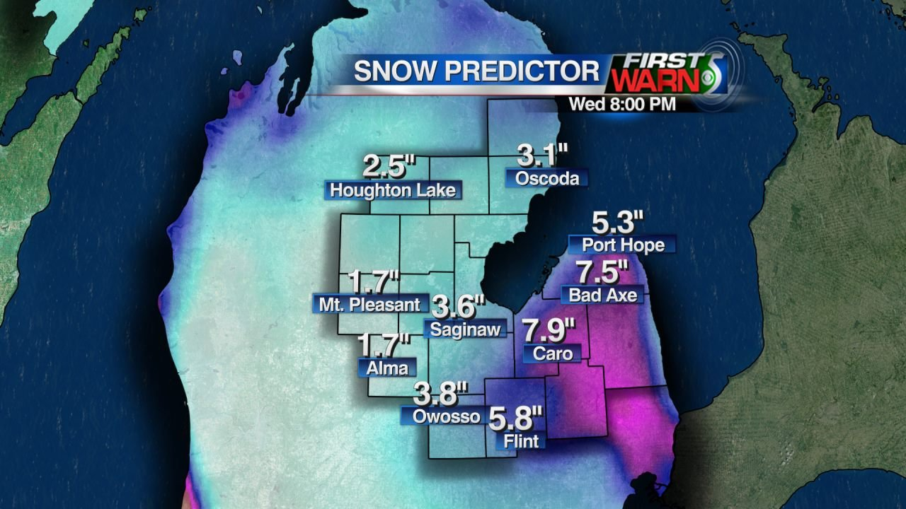 Projected Snowfall through 8:00 PM Wednesday, February 10