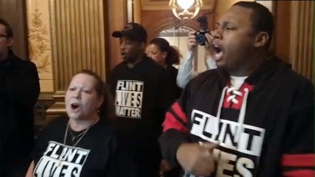 Protests during Snyder's budget proposal. Source: WNEM