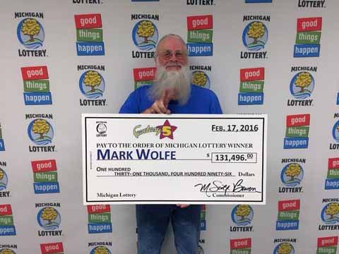 Mark Wolfe, Fantasy 5 jackpot winner. Source: Michigan Lottery