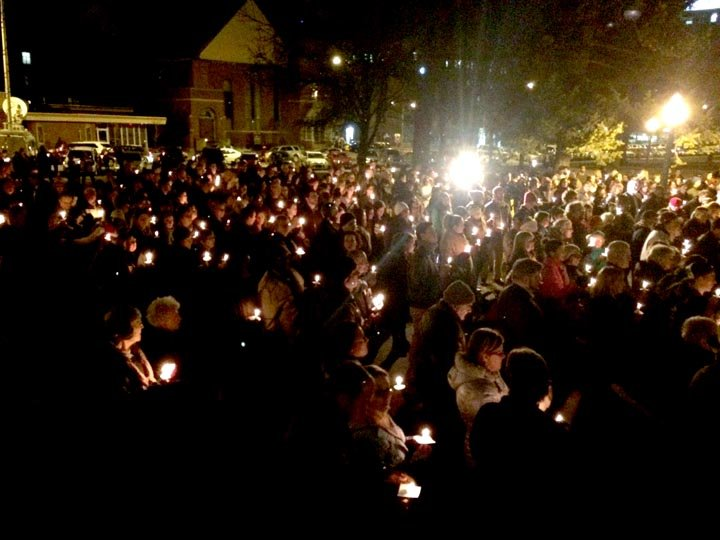Residents gathered in Kalamazoo on Feb. 22, 2016 for a vigil for the victims of the deadly shooting. (Source: WNEM)