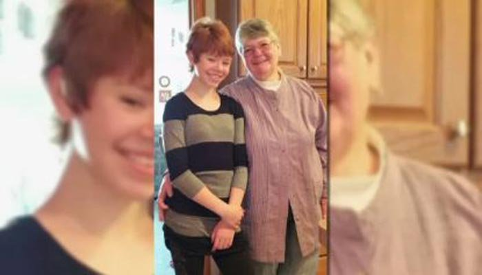 Abigail Kopf, left, is pictured with family friend Barbara Hawthorne, who died in the Kalamazoo shootings Saturday. Kopf, 14, was initially thought dead and then showed signs of life. (Source: Kopf family/CNN)
